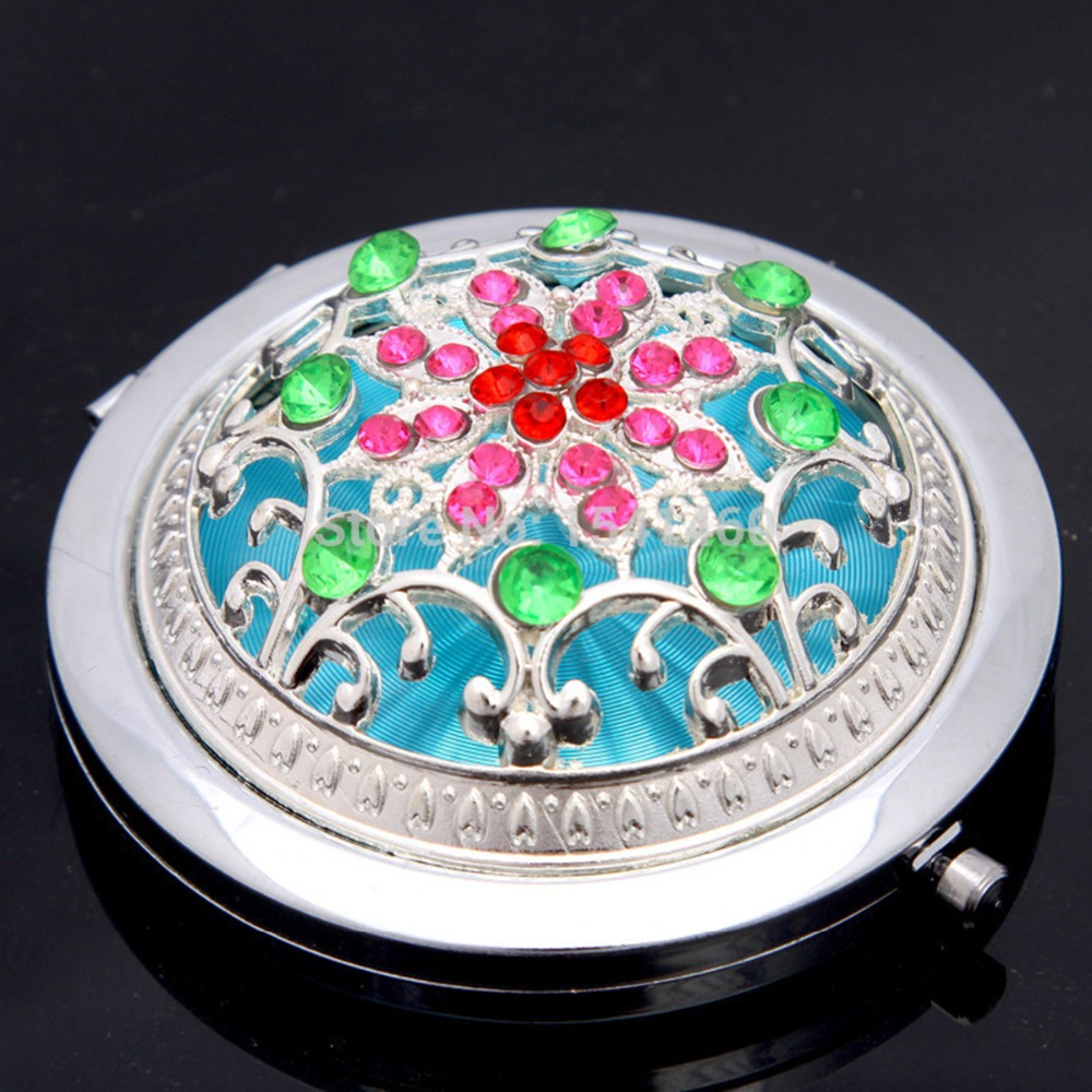 Rhinestone Round Portable Makeup Mirror Folding Vanity Mirror For Wedding Gift Retro Makeup Compact Mirror 3D Stereo Double Side(China (Mainland))
