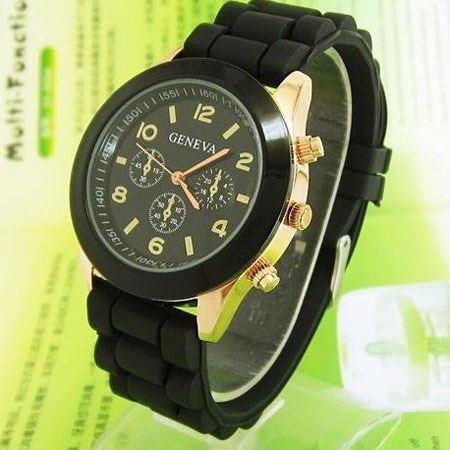 Casual Watch Geneva Unisex Quartz watch 14color men women Analog wristwatches Sports Watches Rose Gold Silicone