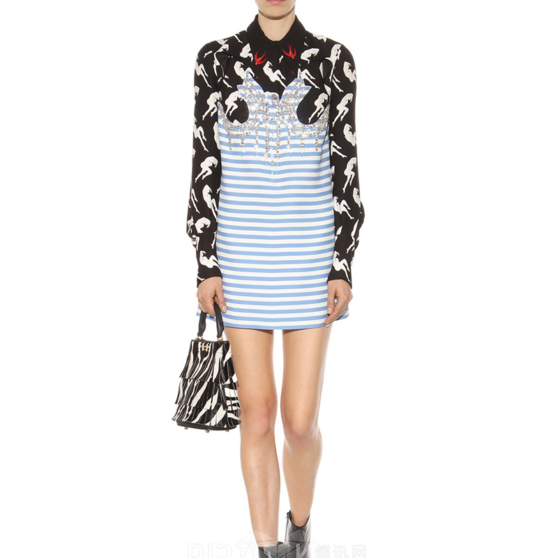 S-XL 2016 new spring summer korean women striped Swallow beading one piece dress Fashion sexy long sleeve casual clothingОдежда и ак�е��уары<br><br><br>Aliexpress