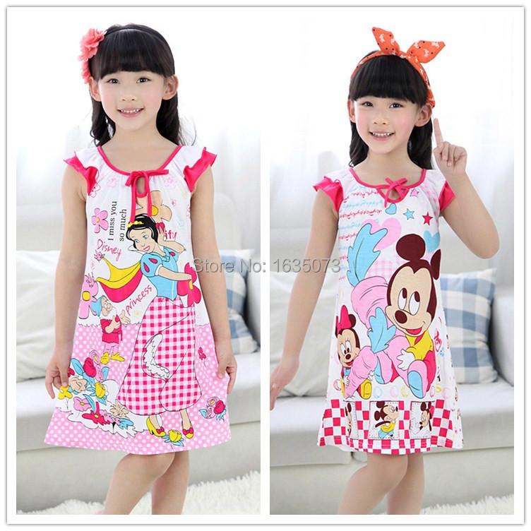 New Arrival Female Girls' Nightgowns Snow Princess Girls Sleepwear&Robes Cartoon Girls Nightgowns Baby Girl Sleep Dress Retail(China (Mainland))