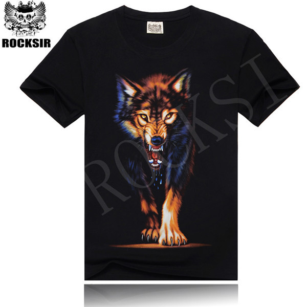 2015 red Wolf with double big Wolf sent hip-hop rock men T-shirt wild fitness T-shirt free shipping(China (Mainland))