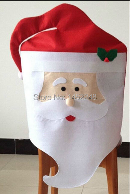 Newest Best Selling Christmas Decoration Mr & Mrs Santa Claus Chair Back Covers Dinner Table Decor Ornaments Free Shipping(China (Mainland))