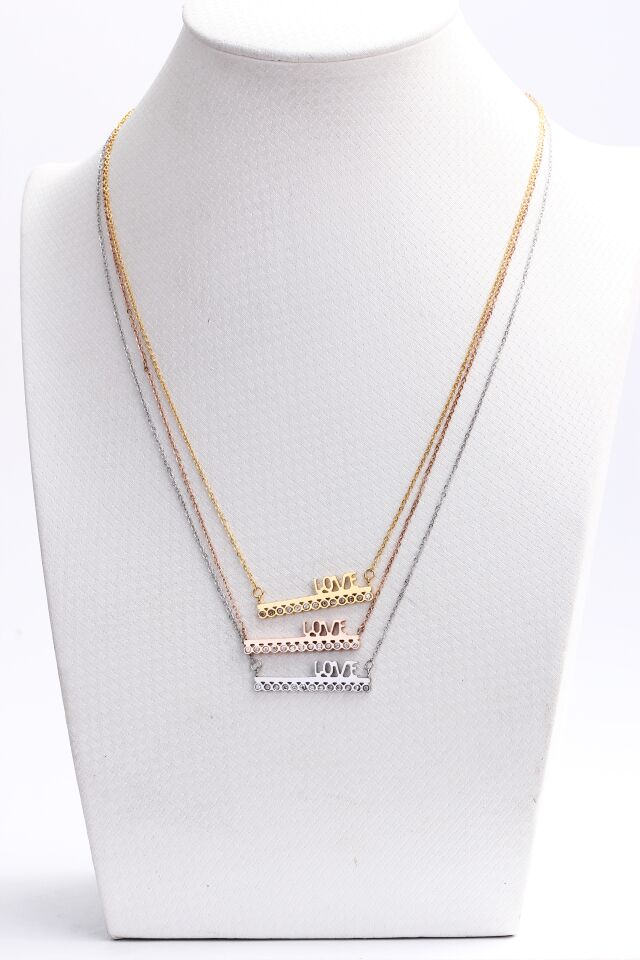 European and American models Train models inlaid crystal plated 18K gold spell clavicle stainless steel necklace couple necklace(China (Mainland))