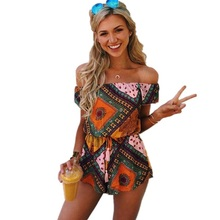 ELSVIOS Women Rompers print  lace Jumpsuit Summer Short pleated Overalls Jumpsuit Female chest wrapped strapless Playsuit (China)