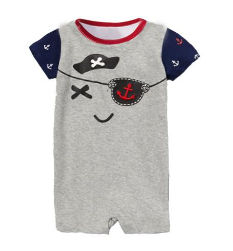 Комбинезон новорожденный лето мальчик пират матрос военно-морского флота короткий рукав младенцы костюм младенцы ткань в полоску ползунки одежда