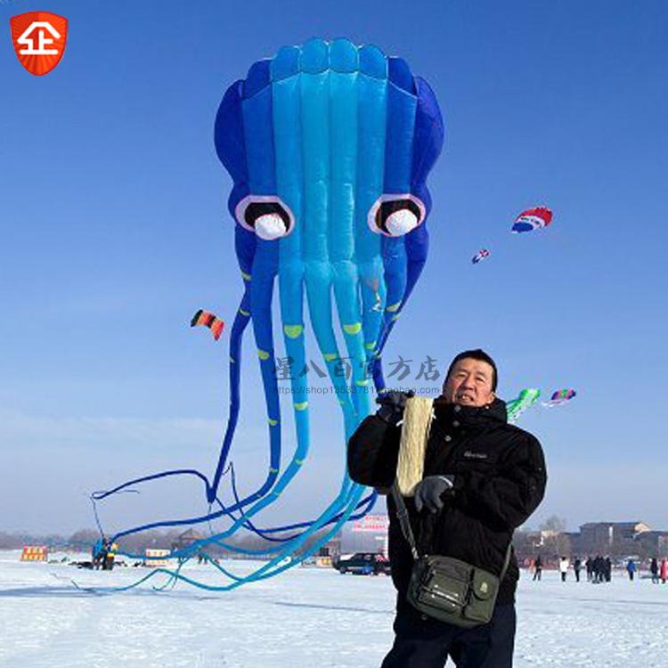 3D 15m AK blue 1 Line Stunt Parafoil Octopus POWER Sport Kite outdoor toys(China (Mainland))
