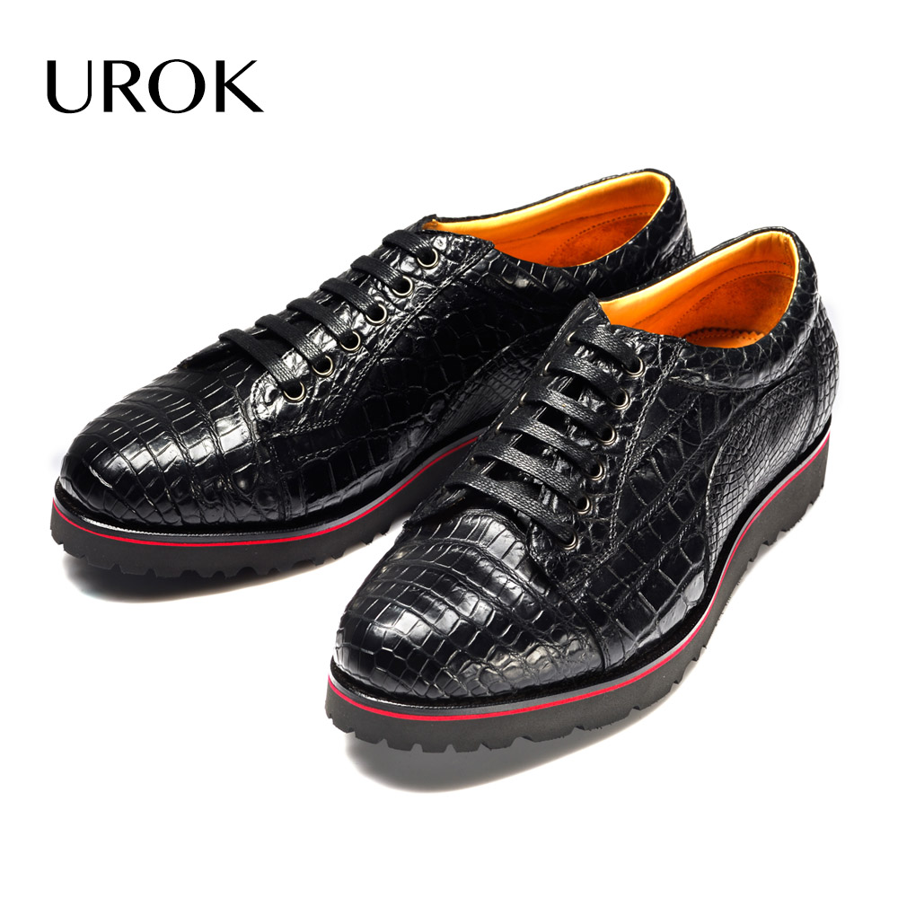 UROK Custom Made Men Crocodile Crppers Luxury Goodyear Welt Lace Up Croco Genuine Leather Flats Handmade Formal Party Men Shoes(China (Mainland))