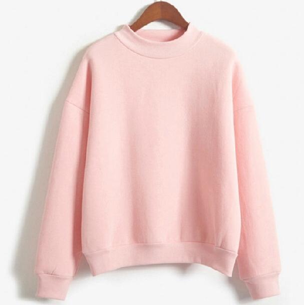 2015 женщин флис футболка осень литровый о-образным шеи сплошной дна пуловер широкий свободного покроя спортивный костюм бесплатная доставка