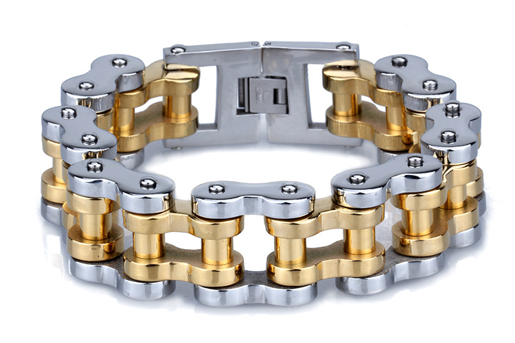 Man PUNK 22mm Heavy Metal Silver & Gold Wide Thick Bike Bicycle Motorcycle Chain Titanium steel Bracelet Biker Men Fine Jewelry(China (Mainland))
