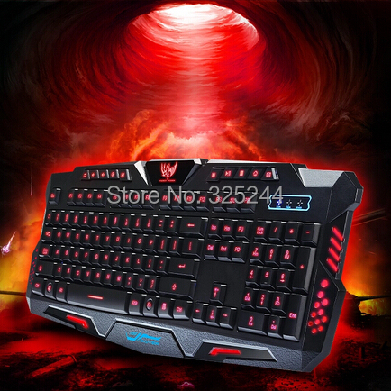 Red Blue Light Color Choice Luminous Backlight Wired Waterproof USB Gaming Keyboard++Tracking No. - Sunshine Trade (Shenzhen store Co.,LTD)