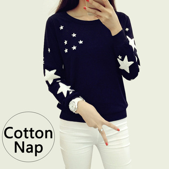Autumn winter Women Hoodie Fashion embroidery star pattern cotton Thick velvet warm round neck Long Sleeve big size Sweatshirts