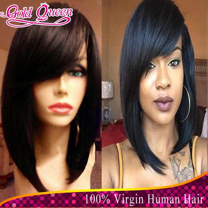 100% Brazilian human hair glueless full lace wigs&lace front bob wigs 6a virgin hair bob lace wig bleached knots free shipping(China (Mainland))