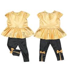 Baby Girls Kids Shirt Dress Legging Pants Children Clothes Sets Suit Outfits Golden Black(China (Mainland))