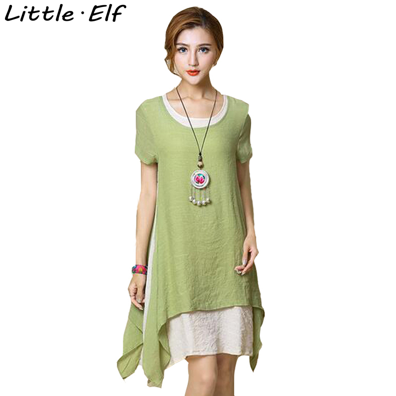 Summer Style Fluid Systems Vintage Fake Two Dress Short Sleeve Loose Party Dresses Female Casual Office Dress Plus size BN911(China (Mainland))