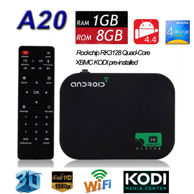 Drop Shipping Android 4.4 TV Box A20 Cortex A7 1GB 8GB Quad Core XBMC Fully Loaded DLNA Miracast Wifi Youtube Smart Media Player(China (Mainland))