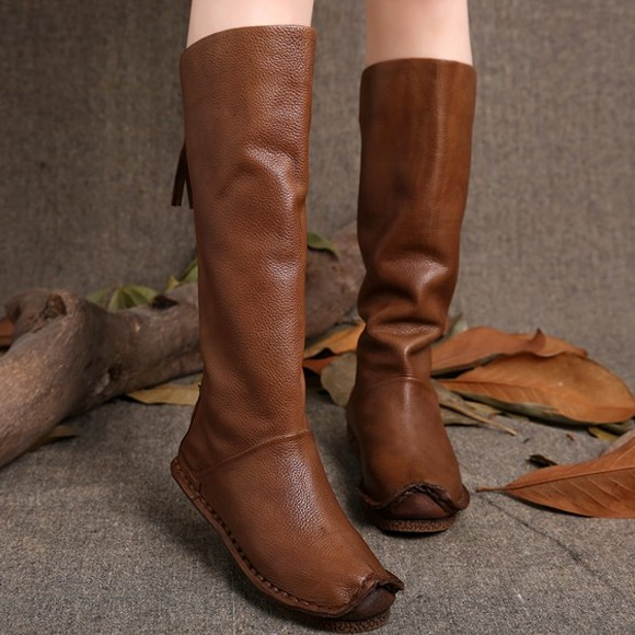 2015 vintage handmade genuine leather boots soft outsole low-heeled boots fashion high-leg boots single boots free shipping(China (Mainland))