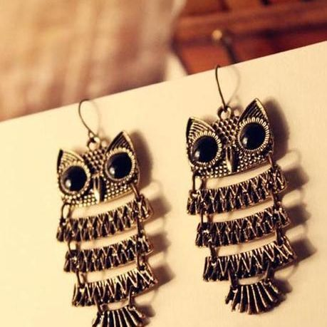 Min.order is $10 (mix order)11A31 Fashion rhinestone lovely personality owl earrings jewelry wholesale free shipping