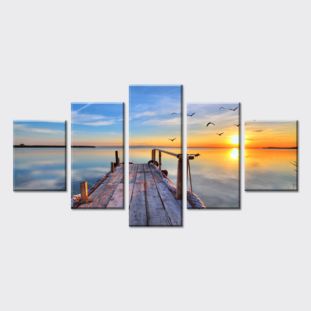 5 piece cheap scenery sunrise pictures art on canvas for Cheap art prints on canvas