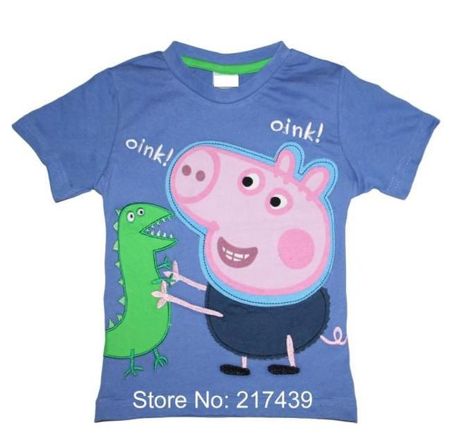 Brand New George Pig Peppa Pig boy boys kids short sleeve blue Embroidery t shirt top tee free shipping