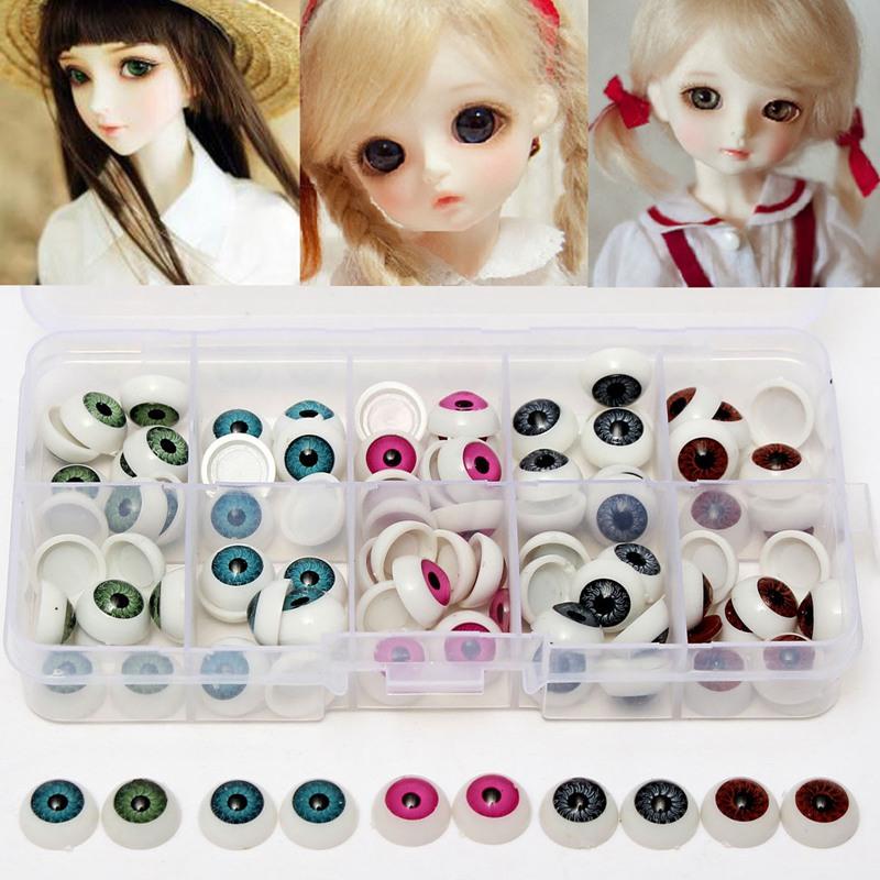 12mm Doll Stuffed Doll Eyeballs Half Round Acrylic Eyes for DIY Doll Bear Crafts Mix Color Plastic Doll EyeBall 100pcs/box(China (Mainland))