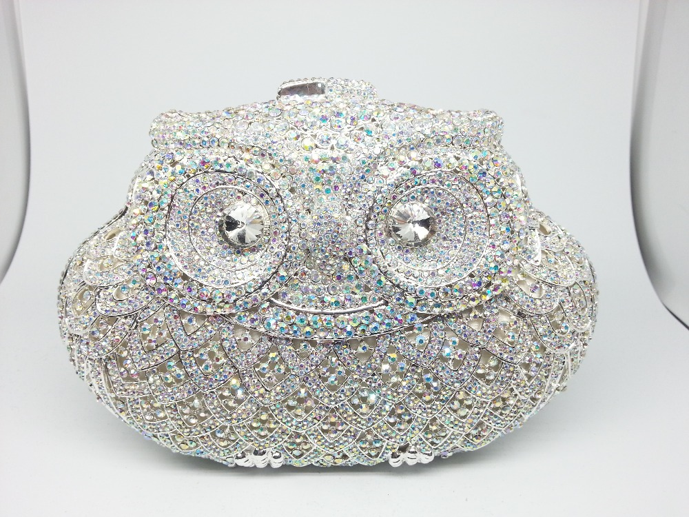 Gift Box Packed Luxury Crystal AB Bride Clutch Owl Purses and Handbags Ladies Evening Clutches Bag Diamonds Women Wedding Bag(China (Mainland))