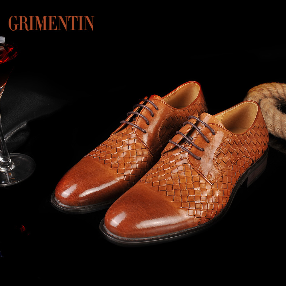 GRIMENTIN Fashion Braided Men Shoes Luxury Brand Designer Genuine Leather Mens Dress Shoes Formal Leather Flats For Men(China (Mainland))
