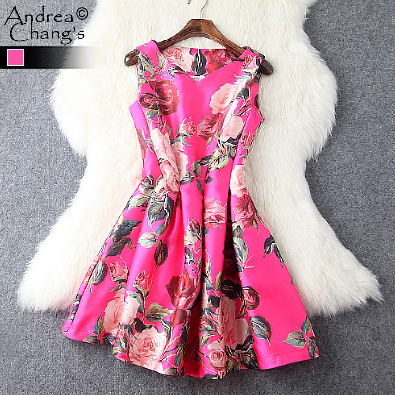 spring summer runway designer womens dresses mini pink dress ball gown green leaf red flower print v-neck cute brand party dress(China (Mainland))