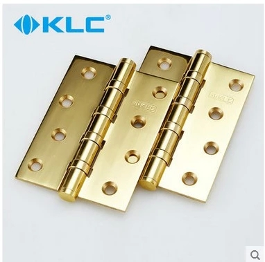The German KLC 4 inch bright gold copper hinge copper wire drawing slotted flat open door door hinge housing fold hinge(China (Mainland))