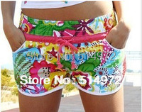 2015 Summer Women's Sexy Mini Beach Shorts Floral Elastic Short Pants Sport Swimwear Surf Board Swim Shorts Bermuda Feminina