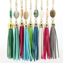 Buy Cabochon Natural Stone Tassel Necklace Fashion Jewelry Long Chain Leather Velvet Tassel Pendant Necklace Accessories Wholesale for $1.03 in AliExpress store