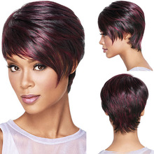 30cm Fashion Sexy Fluffy Bob Ladies Synthetic Wig Women Tilted Frisette Short Hair Cosplay Wigs Wine Red(China (Mainland))