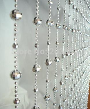 Free Shipping Fashion Silver Mirror Disco Balls Bead Curtain Door Window  Drapes Dividers Disco Balls Beads ...