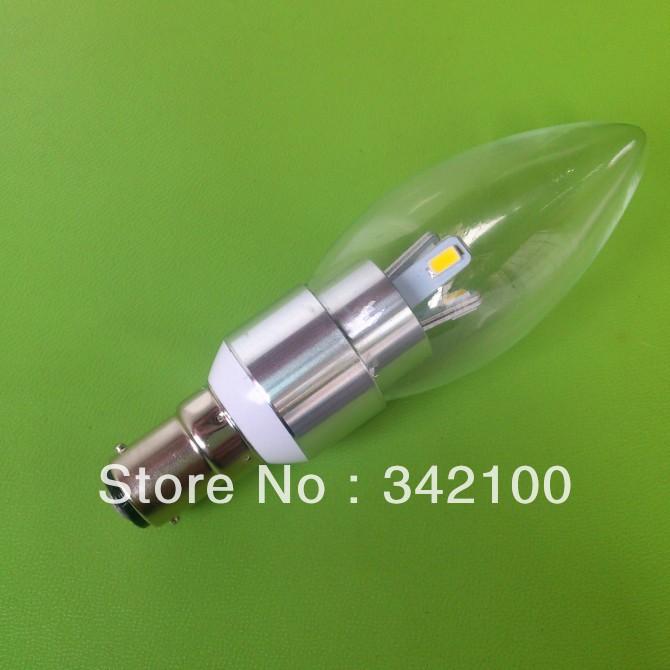 2014 New Promotion x50pcs high quality candle lamp B15 base 12V CE RoHS super bright 5W candle led bulb(China (Mainland))