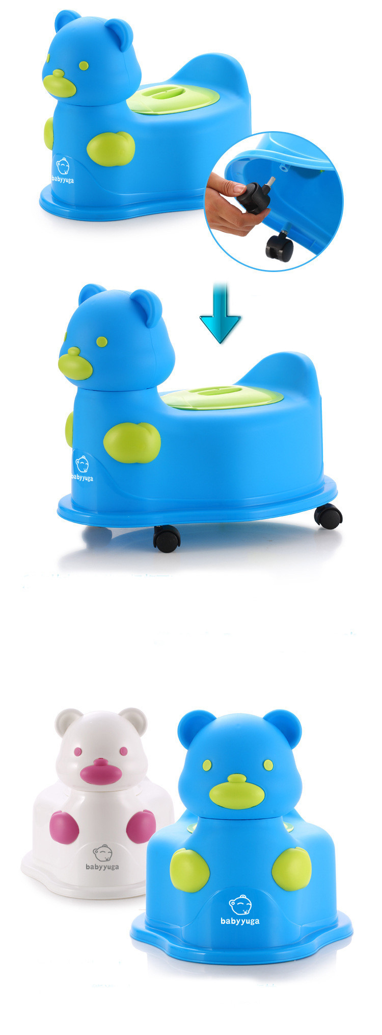 Hot Sale Colorful Cartoon Kawaii Bear Multifunctional baby potty kids toilet chair with wheel portable potty baby jordan toy car