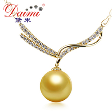 [Daimi] 14-15MM South Sea Pearl Pendant, Luxury 18k Yellow Gold Pendant Necklace, Brand Jewelry, Anniversery(China (Mainland))