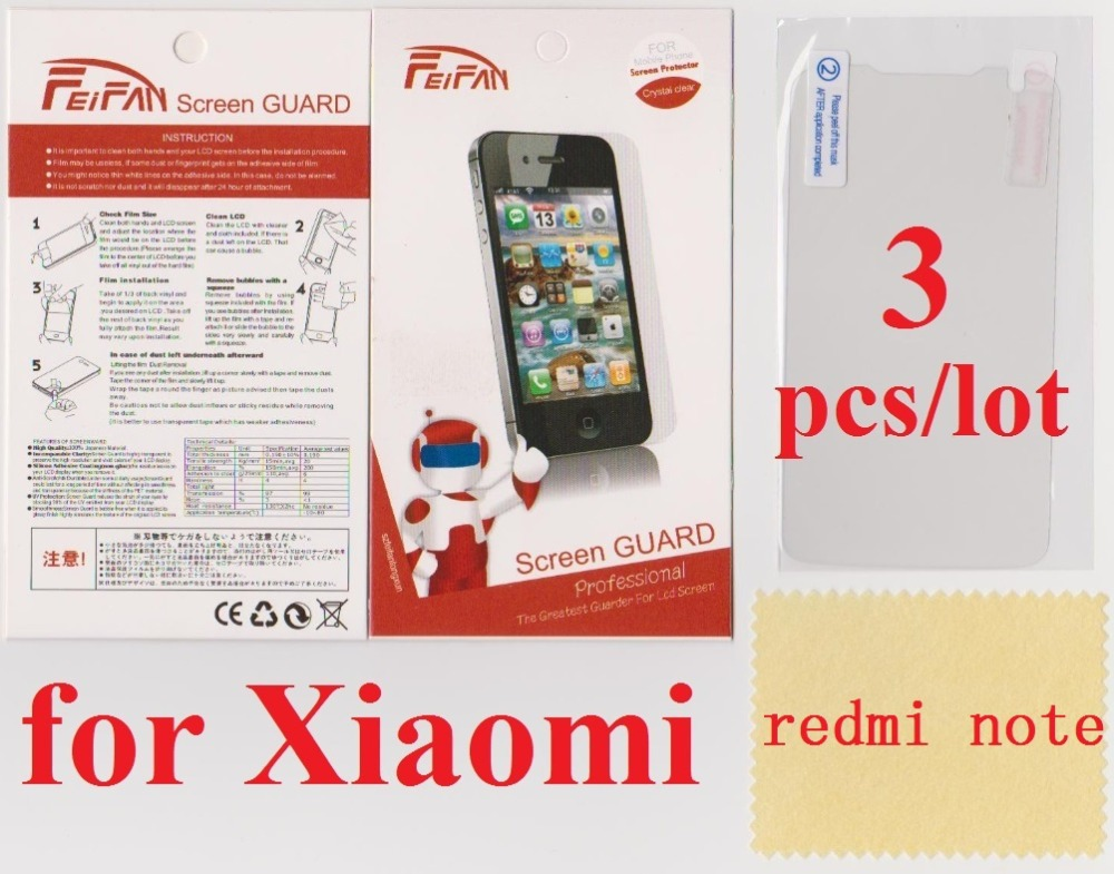 3 pcs/lot film HD Transparent Clear xiaomi redmi note Screen Protector - Shenzhen Jingles Sci-Tech Co., Ltd. store