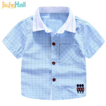 New 2016 Summer Boys Cute Cotton Shirts Fashion Short Shirts With Pocket Casual Style Cotton Childs Clothes For 2-7T Kids FXB039