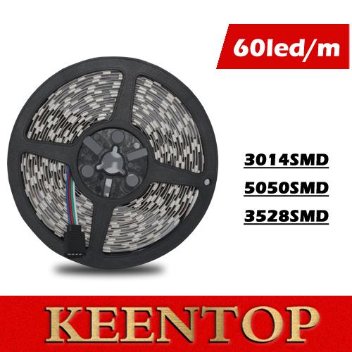 Super Brightness Flexible LED Stirp light SMD3014 5050 3528 60LED/M 5M/Roll DC12V Non-waterproof LED Strip lighting wholesale()