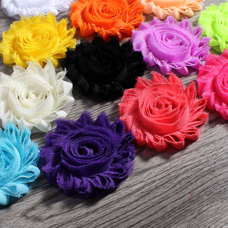 """30pcs/lot 2.6"""" 15colors Fashion Chic Shabby Chiffon Flowers For Baby Hair Accessories 3D Frayed Fabric Flowers For Headbands(China (Mainland))"""