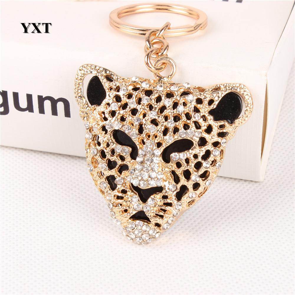 Leopard Head Cute Crystal Charm Pendant Fashion Purse Handbag Car Key Keyring Keychain Favorite Creative Gift(China (Mainland))