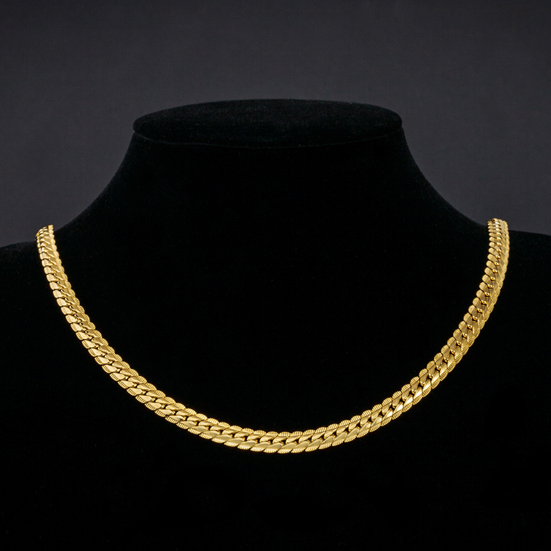 """2016 new 18K Real Gold Plated Necklace With """"18K"""" Stamp Men Jewelry Wholesale New Trendy 6 MM Wide Snake Chain Necklace(China (Mainland))"""