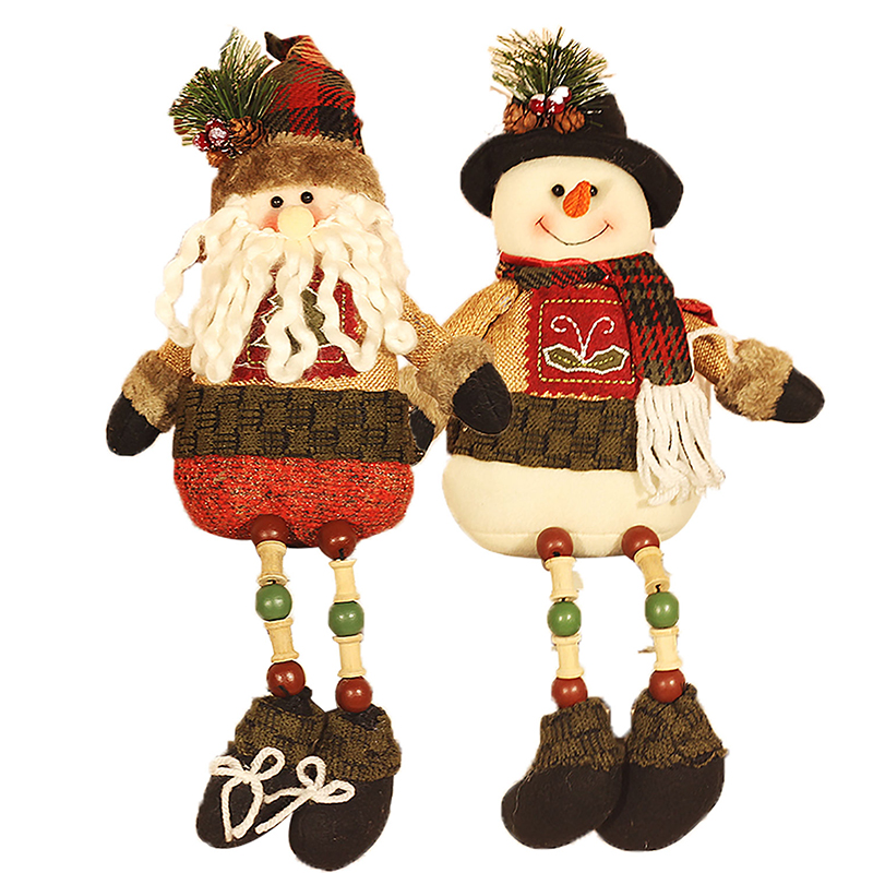 2styles soft plush snowman santa claus dolls christmas for Cute christmas decorations