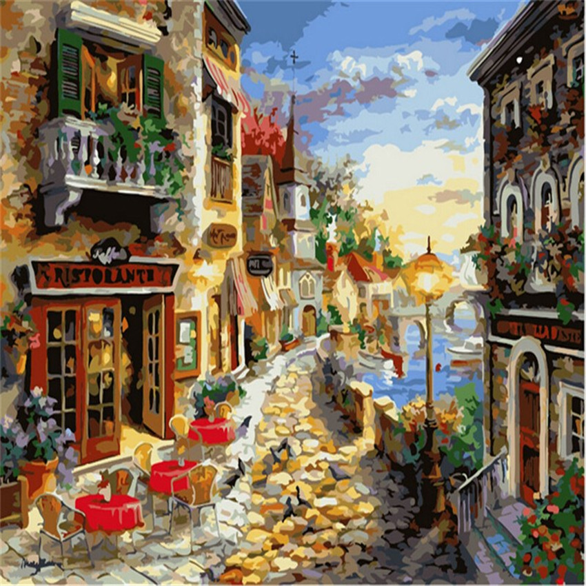 Gold Coast Picture Painting By Numbers On Wall Acrylic European Style DIY Golden Beach Oil Painting Coloring By Number Canvas(China (Mainland))