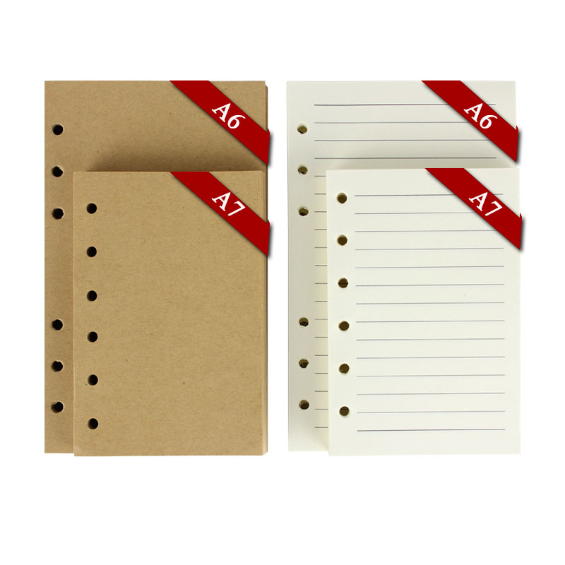 vintage notebook paper 6 ring binder 80 sheets blank kraft white lines A7 A6 inner - office & school supplies stationery online store