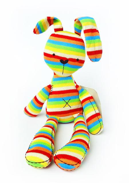 Ребенок кролик комфорт сна игрушки с цвета радуги трикотаж гладкой послушным кролик спать спокойно куклы WJ279