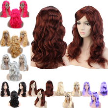 Dark Black Brown Auburn Blue Red Halloween Costume Cosplay Wig Long Curly colorful synthetic hair real thick wig K(China (Mainland))
