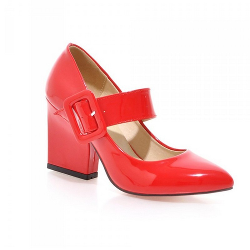 Sexy Square High Heel Woman Sexy Solid Pumps Lady's Sexy Casual Retro Round Toe Buckle Strap Platform Pumps Dress Shoes Hot Sale