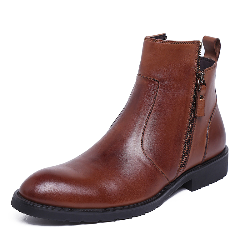 Фотография Top Quality Handmade Genuine Cow Leather Ankle Boots Fashion Martin Boots With Fur Men Winter Leather Shoes EU 38-45