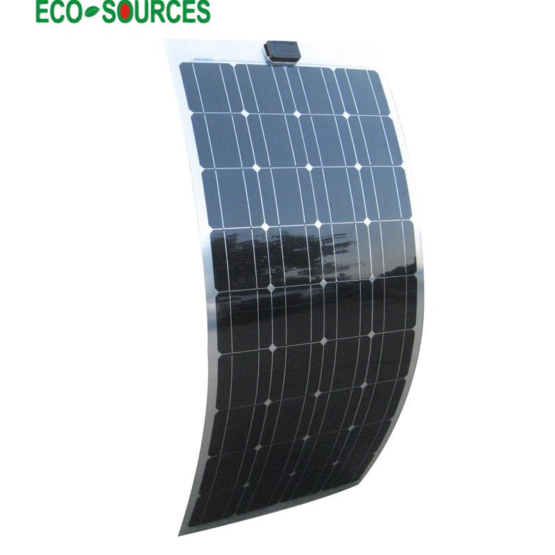 USA Stock No Duty No Tax 100W 12V PV Monocrystalline Flexible Solar Panel 100W Mono semi Flexible Solar panel for RV Boat(China (Mainland))
