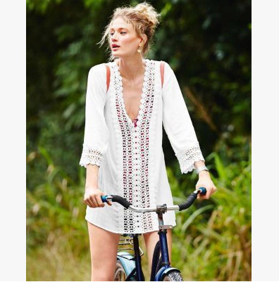 Beach bikini half- sleeve crochet hollow outer beach women dress(China (Mainland))